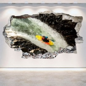 Vinyles de mur 3D cassés Rafting kayak