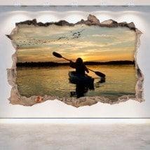 Mur de vinyle cassé Kayak 3D