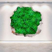 Mur 3D de la marijuana de trou vinyle