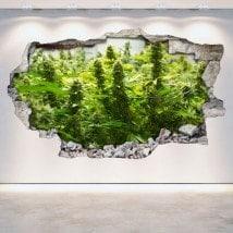 Cannabis de vinyle cassé mur 3D