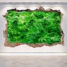 Marijuana mur brisé de vinyle 3D