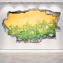 Marijuana vinyle cassée mur 3D