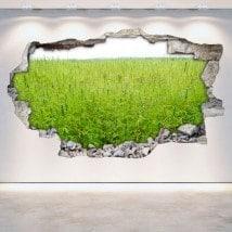 Marijuana autocollants vinyle 3D mur brisé