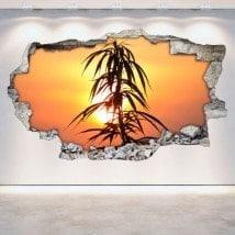 Les panneaux luminescents divisant la marijuana fluowall 3D mur brisé