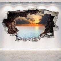 Mur de vinyle cassé grottes 3D