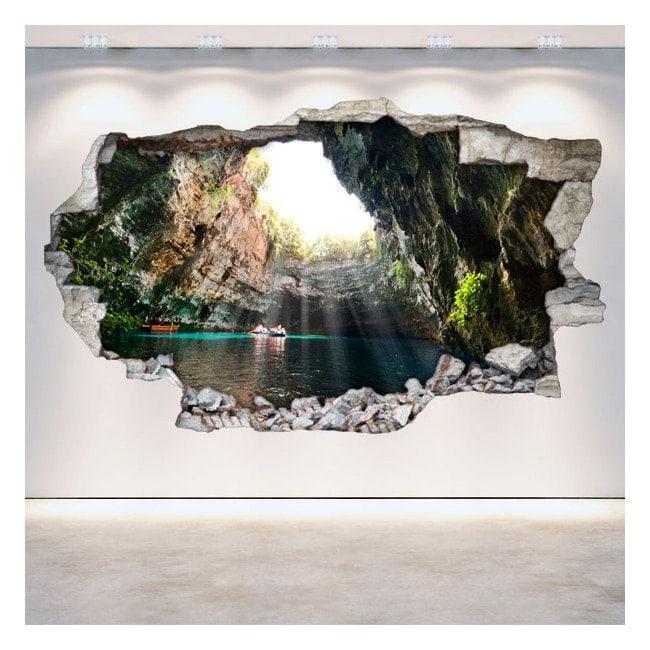 Cavernes et grottes de vinyle de mur cassé 3D