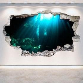 Vinyl mural brisé grottes sous-marine 3D