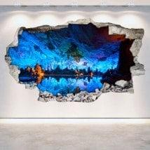 Grottes et le vinyle trou mur 3D