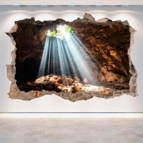 Mur de vinyle grottes et les cavernes de trou 3D