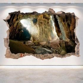 Mur de vinyle grottes 3D trou