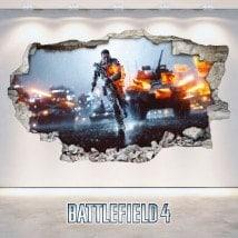 Vinyle Battlefield décoratif mural cassé 3D