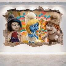 Vinyle décoratif mur brisé Schtroumpfs 3D