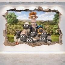 Vinyle décoratif les moutons Shaun 3D