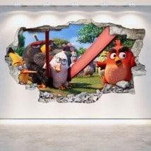 Panneaux luminescents divisant fluowall Angry Birds cassé mur 3D