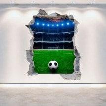 Stade de football 3D cassé pour le mur vinyle