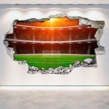 Football stade vinyle mural cassé 3D