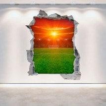 Vinyle stade du football de mur cassé 3D