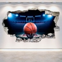 Basket-ball de vinyle cassé mur 3D