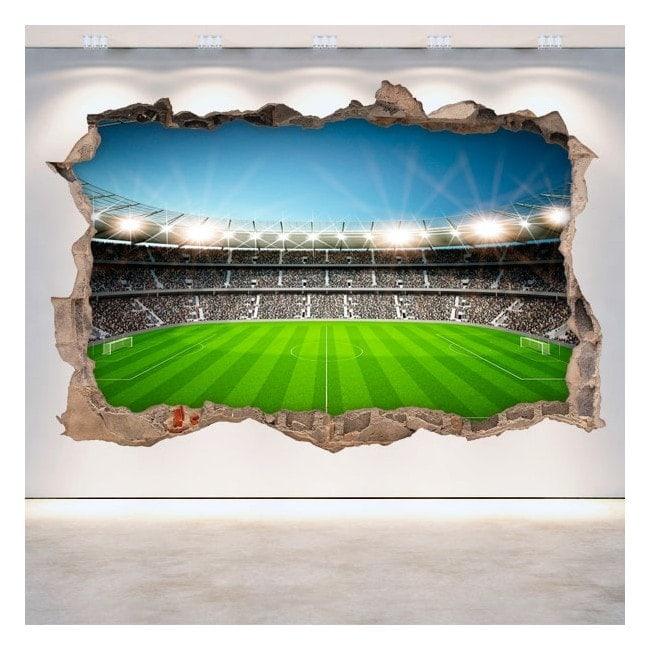 Mur de stade de football vinyle cassé 3D