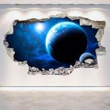 Planètes tournants de vinyle mur espace 3D