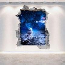 Vinyl 3D mur brisé l'astronaute sur la lune