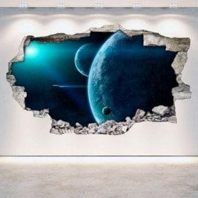 Vinyl mural cassés planètes dans l'espace 3D