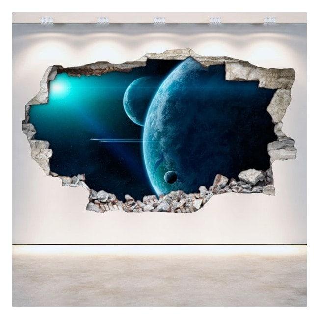 Mur de vinyle rotation des planètes dans l'espace 3D