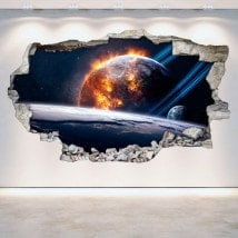 Planètes 3D de vinyle dans le mur espace cassé