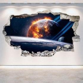 Planètes 3D en vinyle espace mur brisé