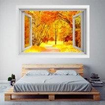Automne de route et les arbres 3D Windows