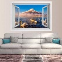 Windows 3D cygnes lac Kawaguchi Mt. Fuji