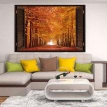 3dwindow route et arbres automne