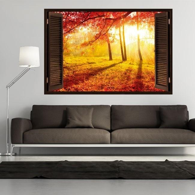 Fenêtre de l'arbre 3D rouge feuilles automne