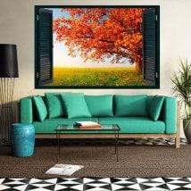 Automne de fenêtre arbre 3D French 5434