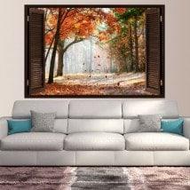 Fenêtre d'automne route arbres 3D