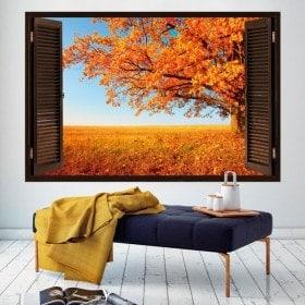 Automne de fenêtre arbre 3D