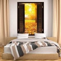 Arbres 3D de fenêtre à l'automne