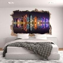 Mur de trou de vinyle 3D Doha Qatar