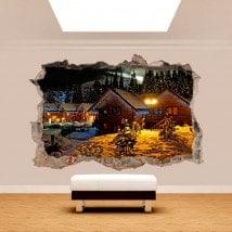 Hiver 3D de vinyle dans les montagnes