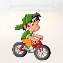 Pour enfants en vinyle enfant et vélo