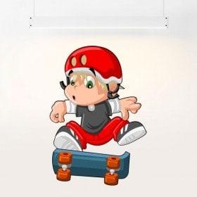 Enfants enfant de vinyle et skateboard