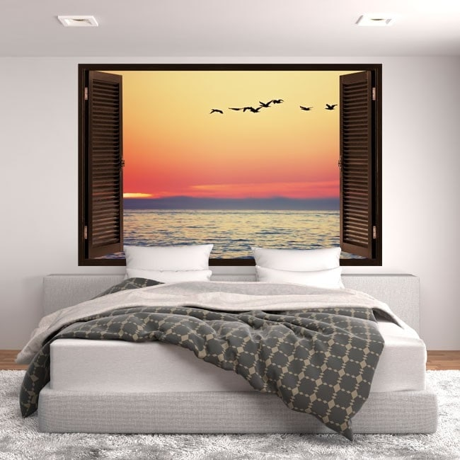 Windows 3D coucher du soleil de vinyle en mer