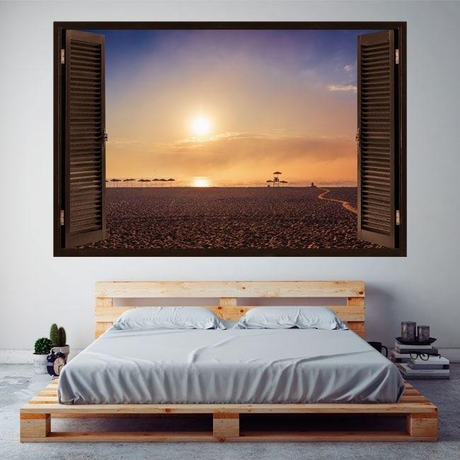 Windows 3D coucher du soleil de vinyle sur la plage