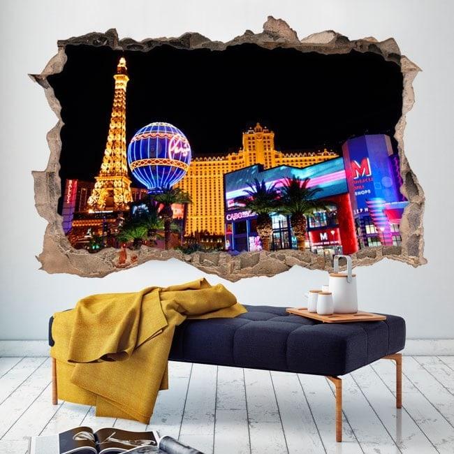 Mur de trou 3D vinyle Las Vegas