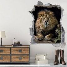 Mur de vinyle lion 3D trou