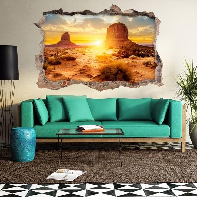 Vinyl 3D coucher de soleil dans le désert French 5633