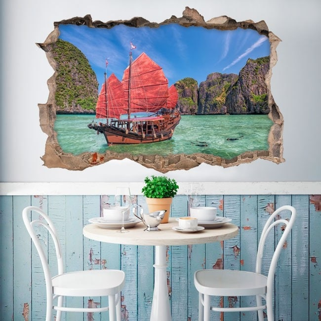 Mur de trou de vinyle Railay Beach Thaïlande