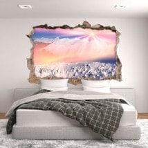Montagnes enneigées de vinyle 3D soleil et neige