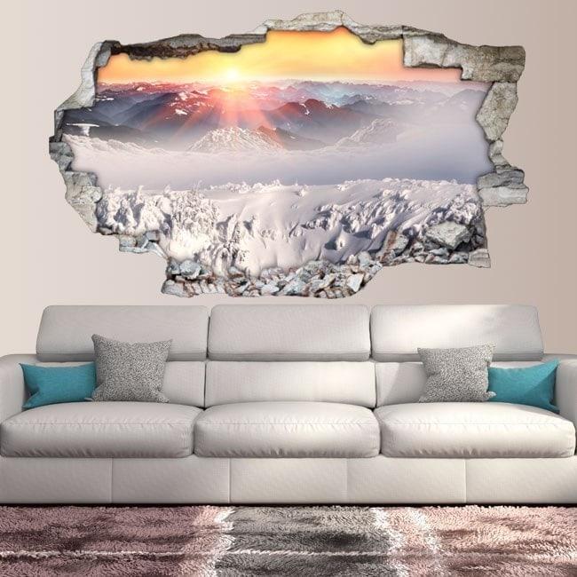 Vinyl 3D coucher de soleil des montagnes enneigées