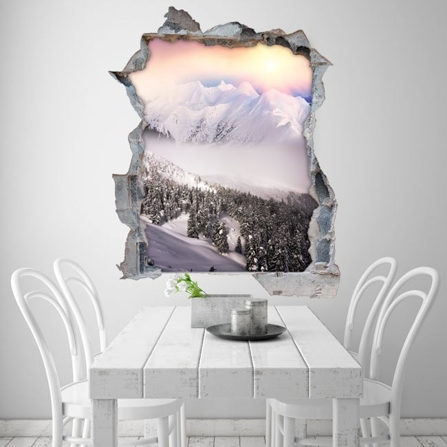 Coucher de soleil vinyle 3D montagnes neige